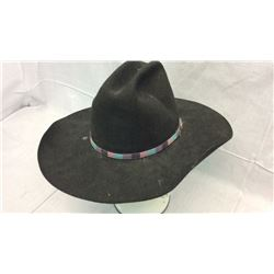 Black Eddy Bros Hat with Multi Colored Hat Band