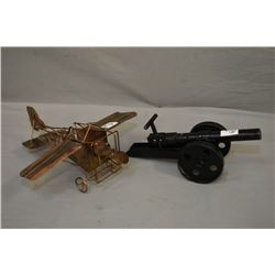 Lot of Two Items : .50 Cal Perc Hand Made Single Trail Model Cannon - Copper Model of Musical Plane,
