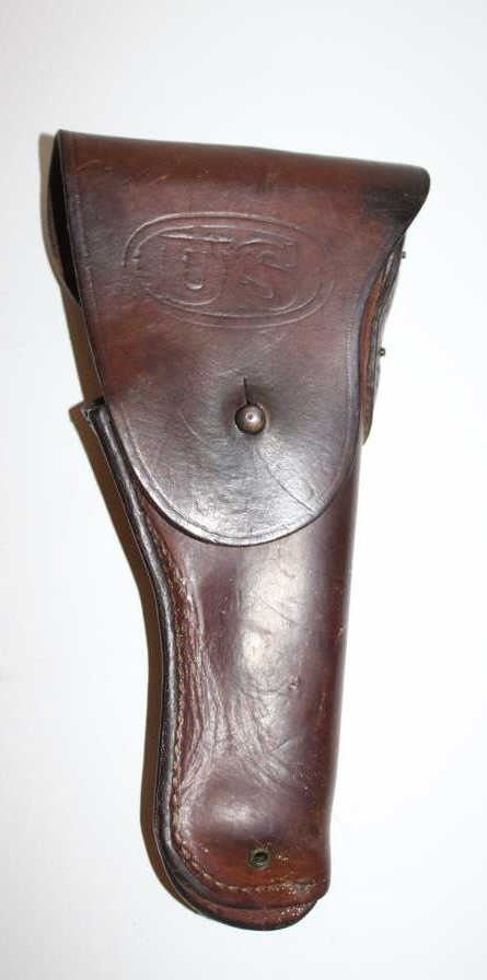 "U S  military leather flap holster for 1911 pistol marked ""Graton"