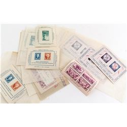 Stamp Sheets: 1956 U+International Philatelic, Texas Centennial, Franklin, Washington, etc