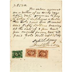 Revenue Stamped 1867 Gold Hill Document