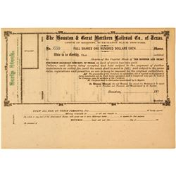 Houston & Great Northern Railroad Company of Texas Stock Certificate