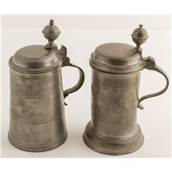Two Antique Pewter Beer Steins