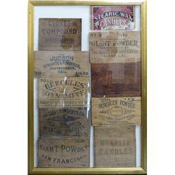 Framed Candle and Blasting Powder Wood Box Ends