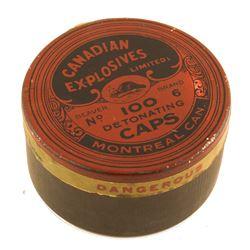 Rare Round Canadian Explosives Blasting Cap Tin