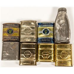 Eight Different Justrite Carbide Pocket Tins