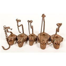 Five Frog Lamps, All Similarly Made
