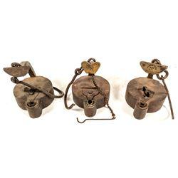 Three Similar Frog Lamps
