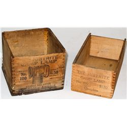 Two Original Justrite Lamp Wood Boxes