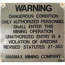 Anamax Mining Company Sign