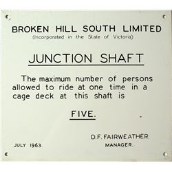 Broken Hill South Junction Shaft Sign