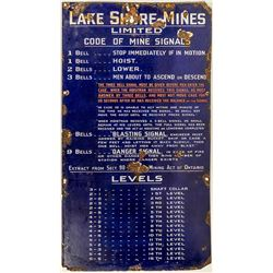 Lakeshore Mines Limited Mine Bell Signal Sign