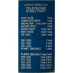 Siscoe Metals Ltd. Telephone Directory Sign
