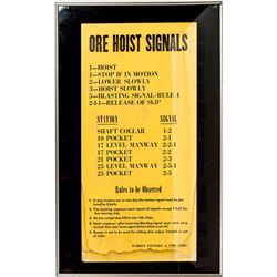 Ore Hoist Signal Sign