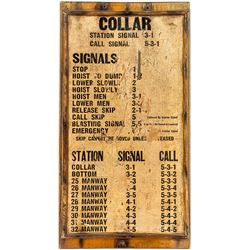 Unusual Thick Paper Mine Bell Signal Sign