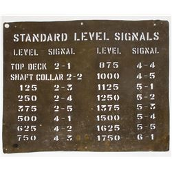 "Mine Bell Signal Sign ""Standard Level Signals"""