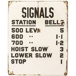 White Enamel Mine Bell Signal Sign