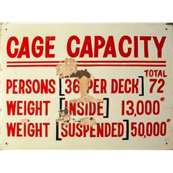 Cage Capacity Mining Sign