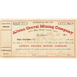 Altona Gravel Mining Company Stock Certificate