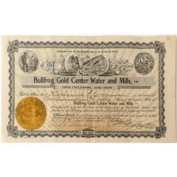 Bullfrog Gold Center Water and Mills, LTD. Stock Certificate
