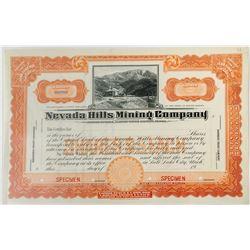 Nevada Hills Mining Company Specimen Stock Certificate