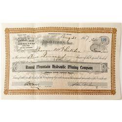 Round Mountain Hydraulic Mining Company Stock Certificate