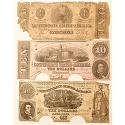 3 Confederate Notes