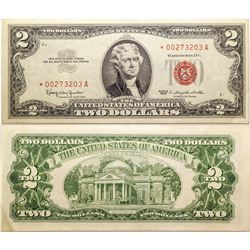 Two $2 Bill Star Notes/ Low Serial Numbers