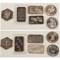 Six One Ounce Silver Pieces