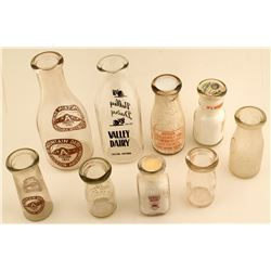 Collection of Nine Different Tucson Milk Bottles