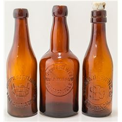 Three American Embossed Amber Beers