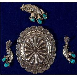 Silver Pendant, Silver & Turquoise Pendant & Earrings