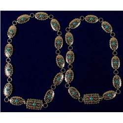 Two German Silver and Turquoise Concho Belts