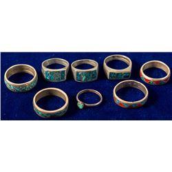 8 Zuni Inlay Band Rings