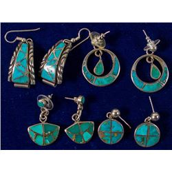 Four Pair Turquoise and Silver Earrings