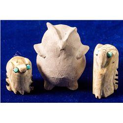 Three Owl Fetishes
