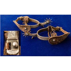 Vintage Silver Inlay Garcia Spurs with Hand Tooled Straps