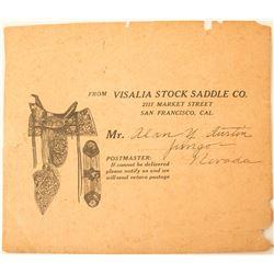 Visalia Stock Saddle Company Pictorial Postal Piece