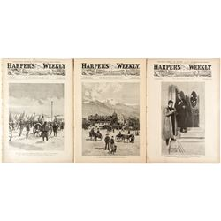 Three Harper's Weekly Magazines with Colorado Articles and Remington Sketch