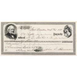 Fort Benton Order for $25.00 ordered of J. G. Baker