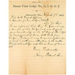 Buena Vista (Unionville) Lodge letterhead, 1894