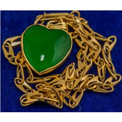 Gold and Jade Heart Pendant