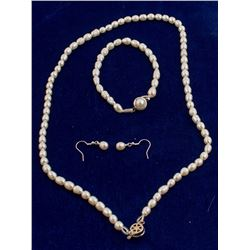 Seed Pearl Necklace, Bracelet, and Earrings