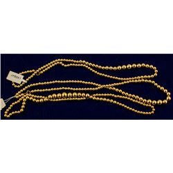 Three 14k Gold Bead Necklaces