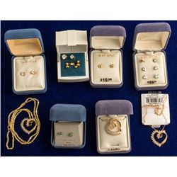 3-10K gold hearts/CZ's and Several Sets of Earrings