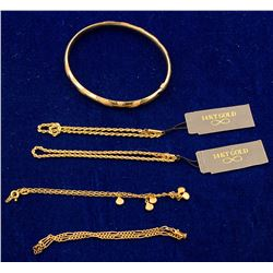 Gold Bangle and 4 14K Gold Chain Bracelets