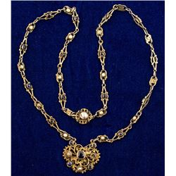 Austro-Hungarian Silver Necklace Set w/ Sapphires and Mabe Pearls