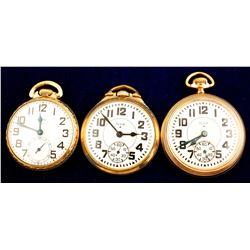 Three Gold Elgin Pocket Watches