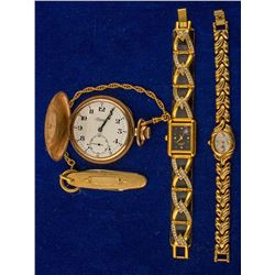 1 Men's Admiral Pocketwatch and 2 Women's Watches.