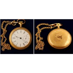 Waltham Gold Pocket Watch with Chain